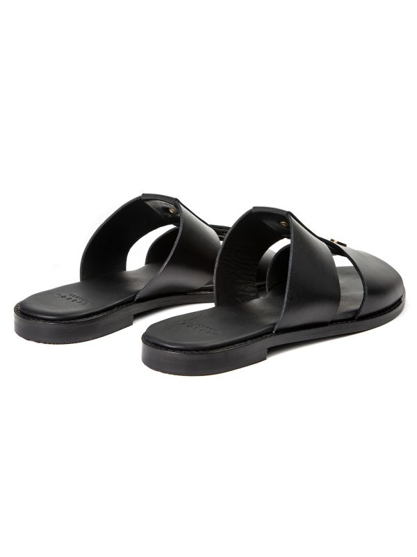 Womens Aponi Leather Black Slip On Sandal Back
