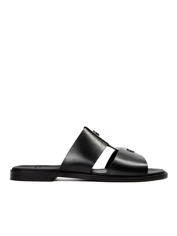 Womens Aponi Leather Black Slip On Sandal Side