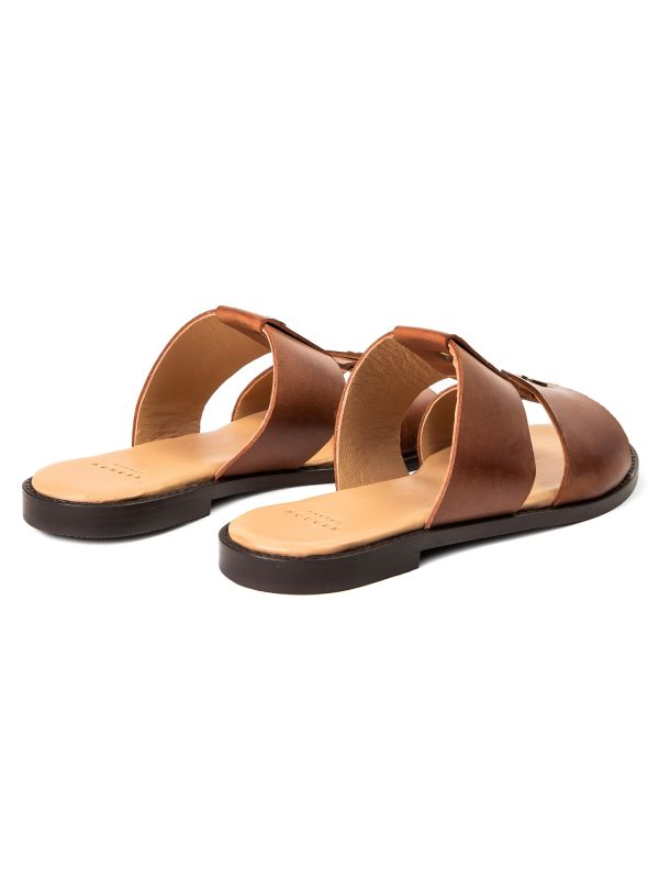 Womens Aponi Leather Tan Slip On Sandal Detail