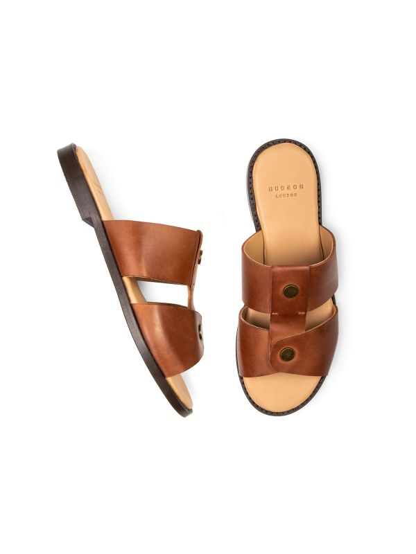Womens Aponi Leather Tan Slip On Sandal Top