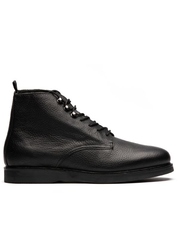 Leather Boot Battle Black Side View