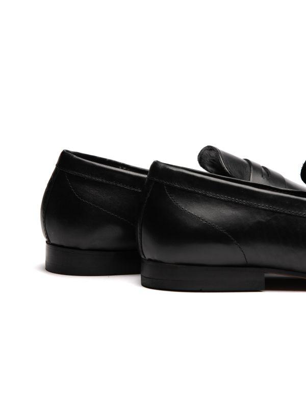 Mens Bolton Black Saddle Loafer Detail