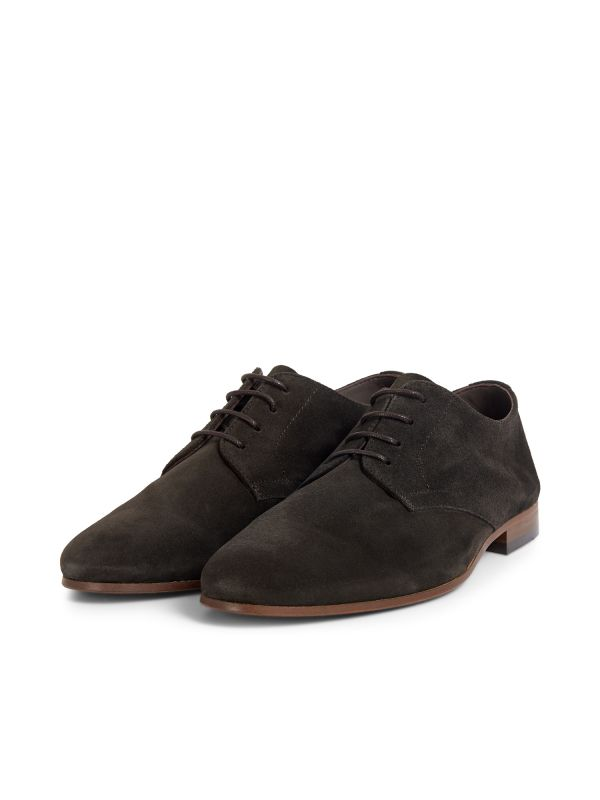 Hudson London Mens Attock Suede Coffee Derby Shoe Three Quarter
