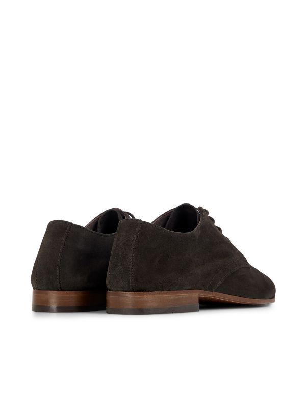 Hudson London Mens Attock Suede Coffee Derby Shoe Detail