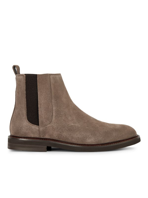 Hudson Mens Finley Suede Taupe Chelsea Boot Side
