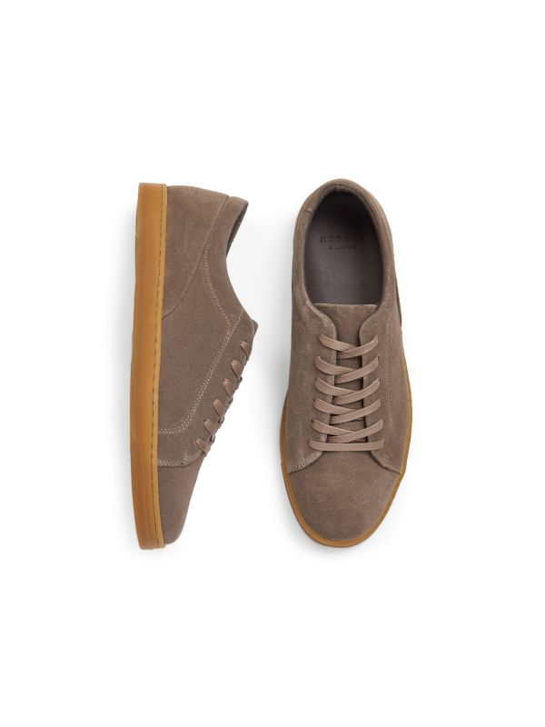 Hudson London Mens Brackla Suede Taupe Sneaker Top