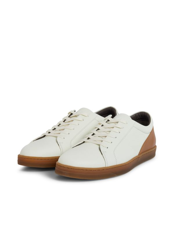 Hudson London Mens Brackla Leather White Sneaker Three Quarter