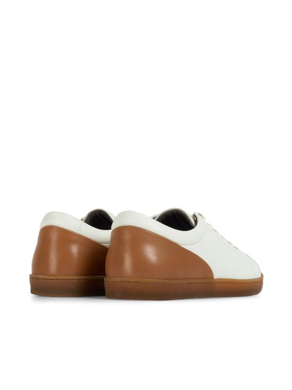 Hudson London Mens Brackla Leather White Sneaker Detail