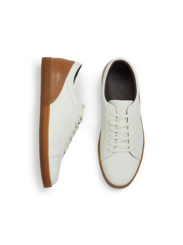 Hudson London Mens Brackla Leather White Sneaker Top