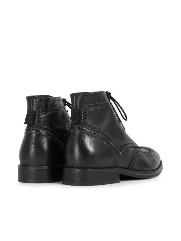 Hudson London Mens Anderson Drum Dye Black Lace Up Boot Detail