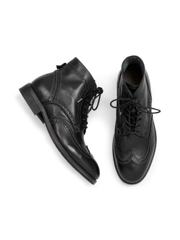 Hudson London Mens Anderson Drum Dye Black Lace Up Boot Top