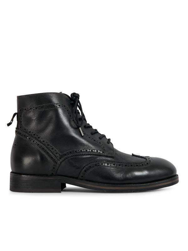 Hudson London Mens Anderson Drum Dye Black Lace Up Boot Side
