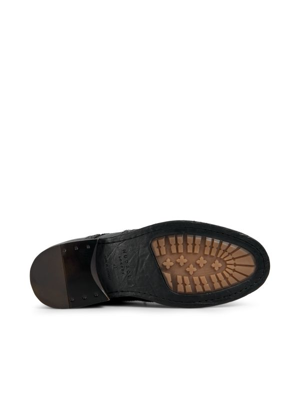Hudson London Mens Anderson Drum Dye Black Lace Up Boot Sole
