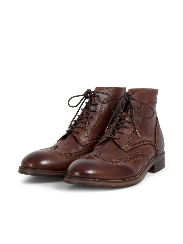 Hudson London Mens Anderson Drum Dye Brown Lace Up Boot Three Quarter