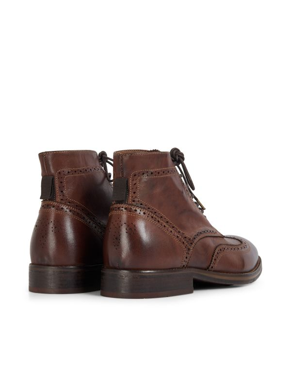 Hudson London Mens Anderson Drum Dye Brown Lace Up Boot Detail