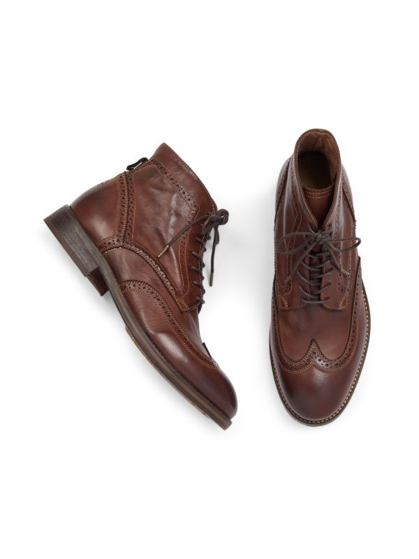 Hudson London Mens Anderson Drum Dye Brown Lace Up Boot Top
