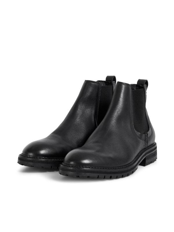 Hudson London Mens Canford Leather Black Chelsea Boot Three Quarter