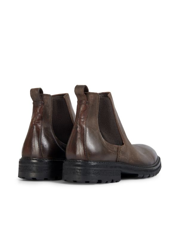 Hudson London Mens Canford Leather Brown Chelsea Boot Detail