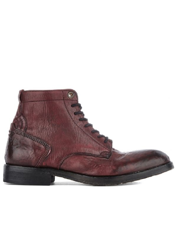 Lace Up Boot Gypsum Bordeaux Side View