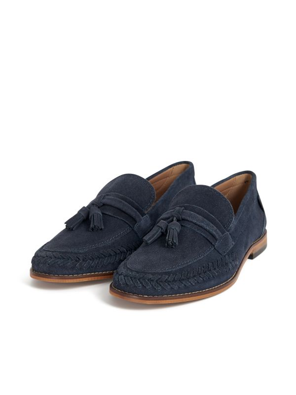 H by Hudson Mens Guilder Suede Navy Loafer Three Quarter