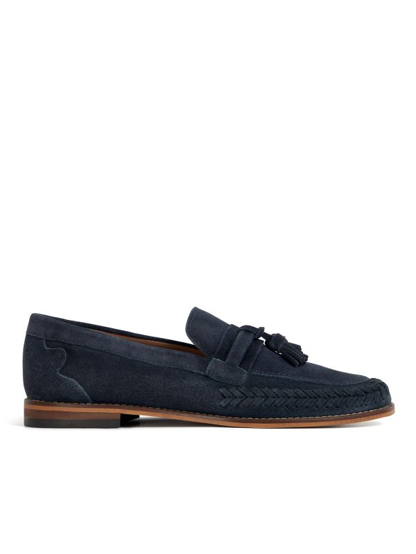 H by Hudson Mens Guilder Suede Navy Loafer Side