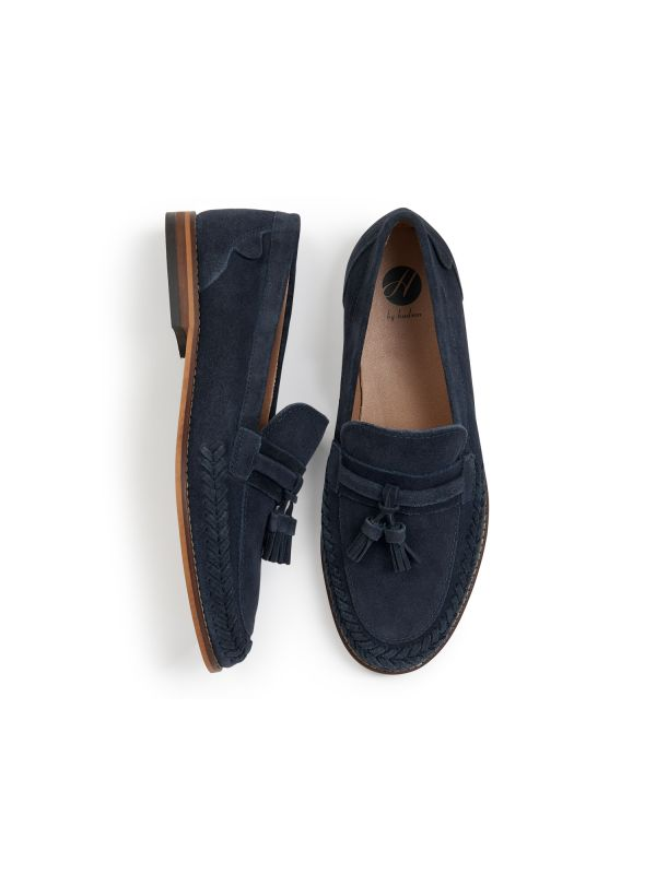 H by Hudson Mens Guilder Suede Navy Loafer Top