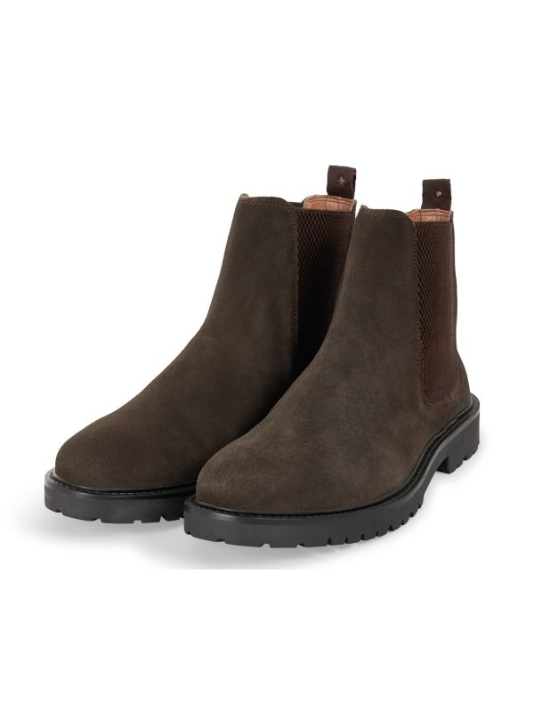 Mens Webber Suede Brown Chelsea Boot Three Quarter