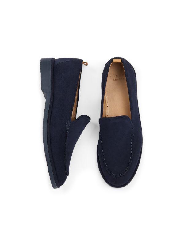 Hudson London Mens Calvi Suede Navy Loafer Top