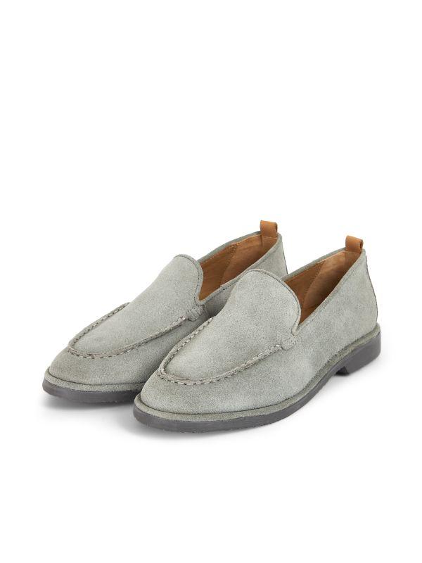 Hudson London Mens Calvi Suede Stone Loafer Three Quarter