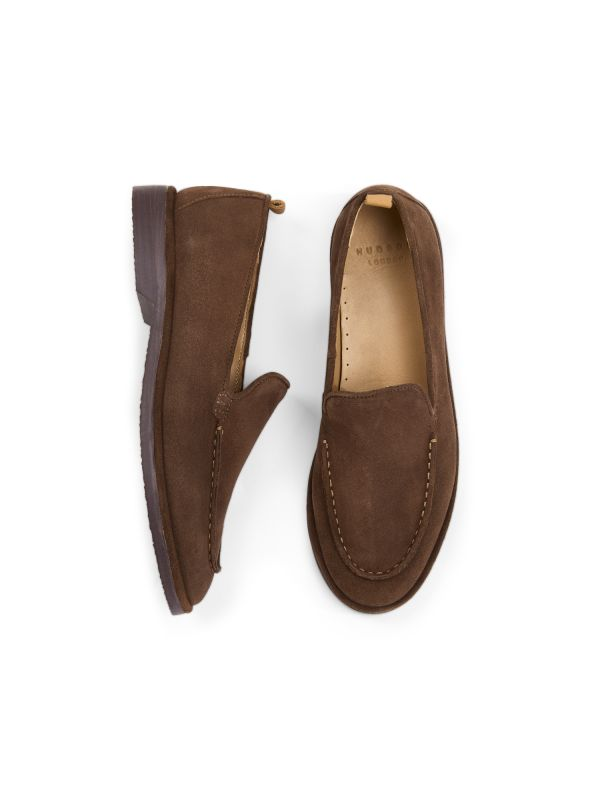 Hudson London Mens Calvi Suede Brown Loafer Top