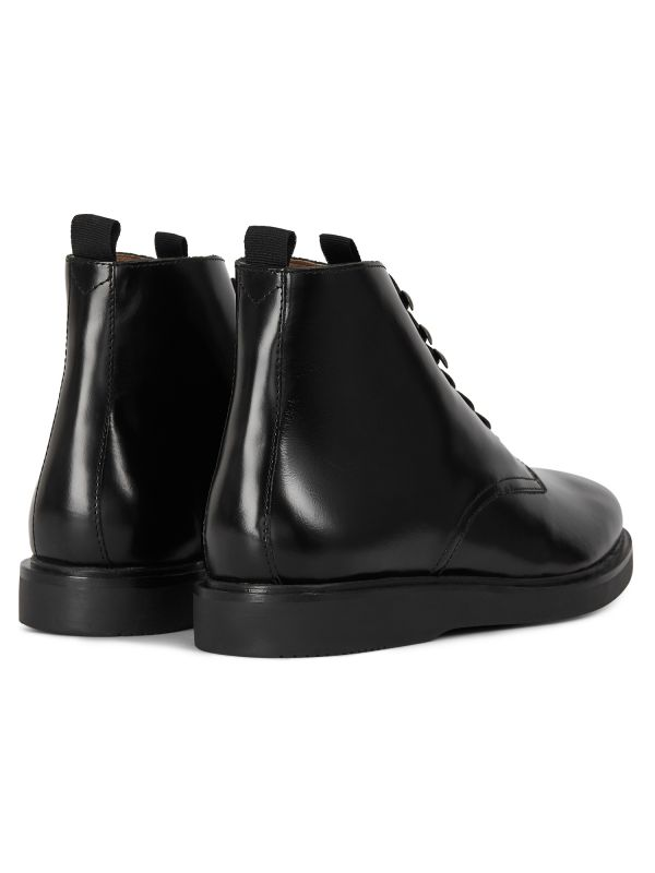 Mens Battle Hi Shine Black Boot Detail