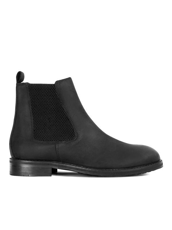 Mens Hewitt Black Chelsea Boot Side