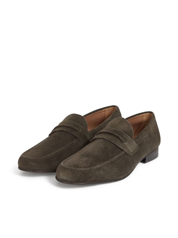 H by Hudson Hecker Suede Brown Loafer Three Quarter