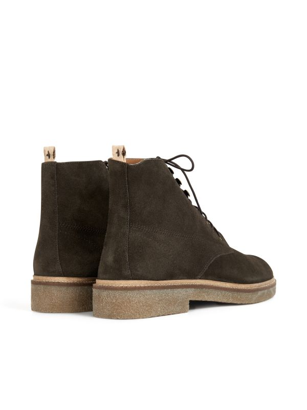 Hudson Mens Trumen Suede Brown Boot Detail