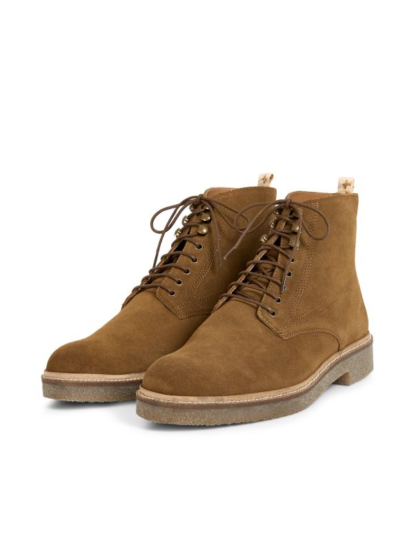 Hudson London Mens Trumen Suede Caramel Lace Up Boot Three Quarter