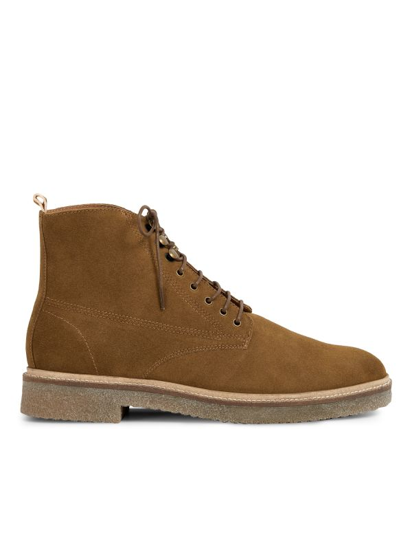 Hudson London Mens Trumen Suede Caramel Lace Up Boot Side