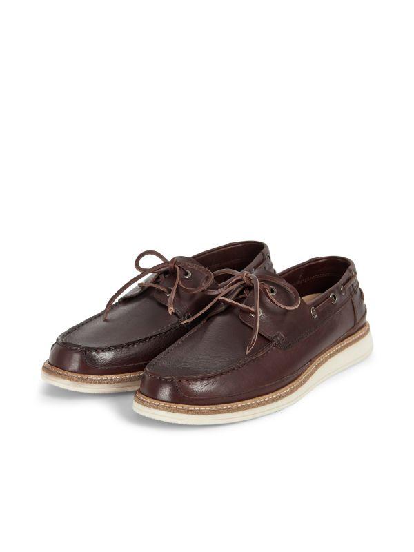 Hudson Mens Copeland Brown Boat Shoe three quarter