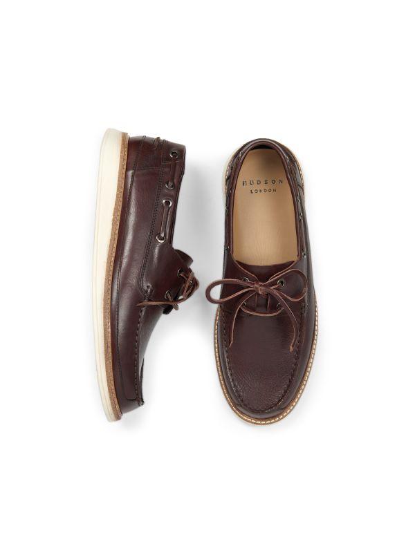Hudson Mens Copeland Brown Boat Shoe Top