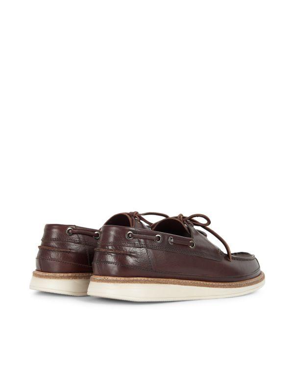 Hudson Mens Copeland Brown Boat Shoe Detail