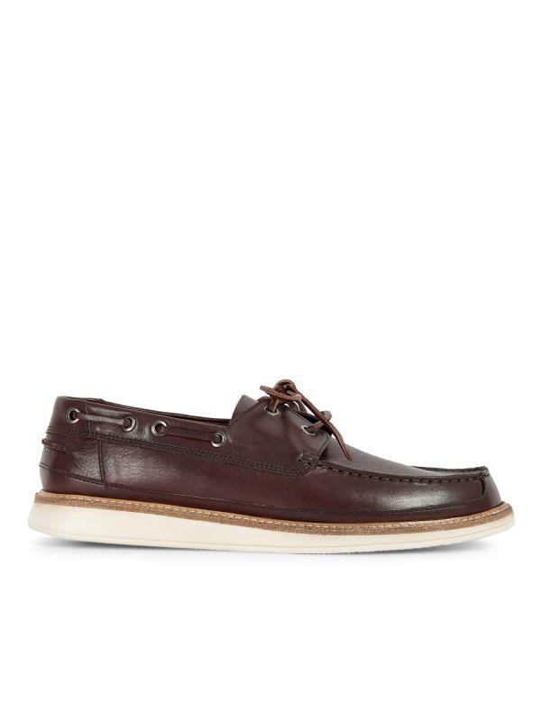 Hudson Mens Copeland Brown Boat Shoe Side