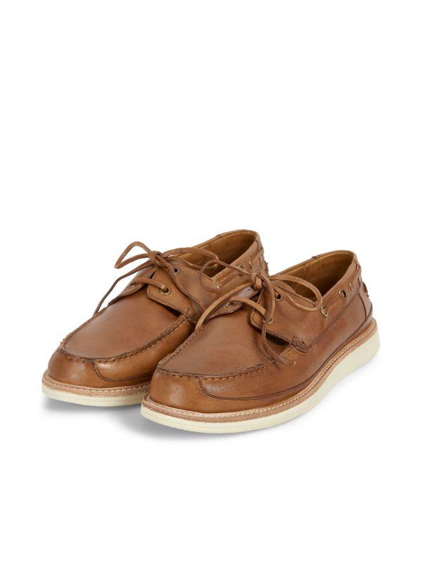 Hudson Mens Copeland Tan Boat Shoe Three quarter