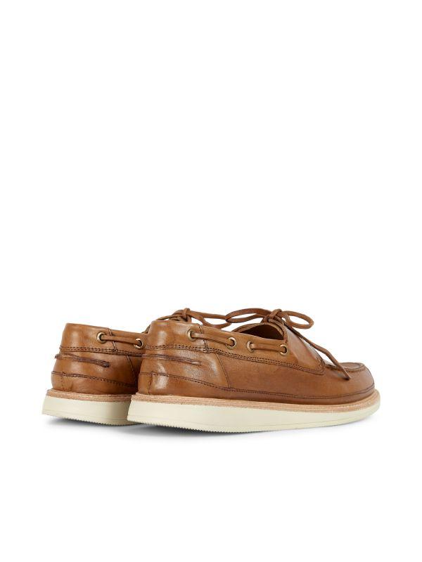 Hudson Mens Copeland Tan Boat Shoe Detail