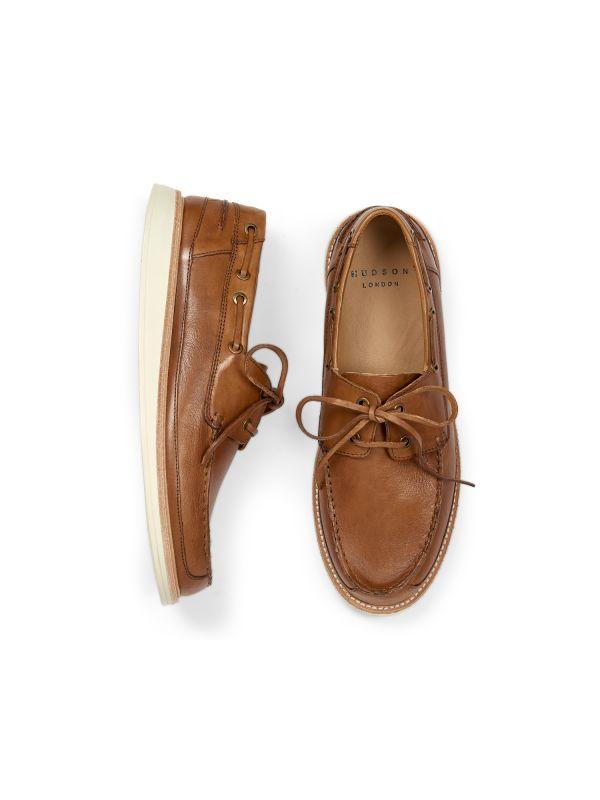 Hudson Mens Copeland Tan Boat Shoe Top