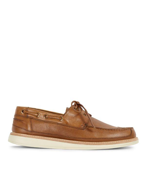 Hudson Mens Copeland Tan Boat Shoe Side