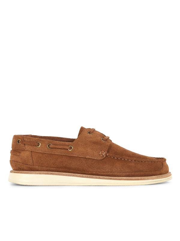 Hudson London Mens Copeland Suede Cognac Boat Shoe Side