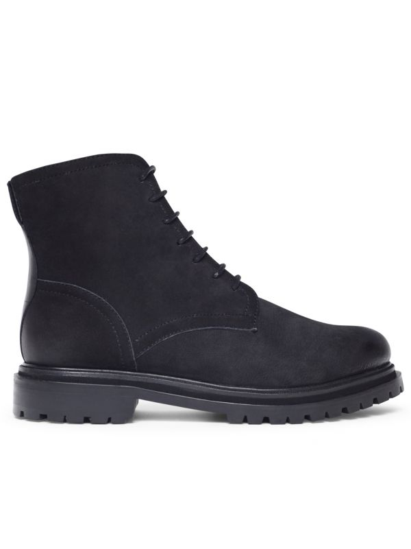 Lingshaw Nubuck Black Boot Side