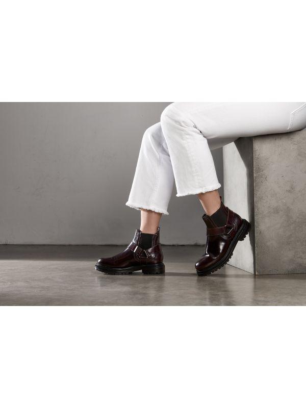Womens Moss Patent Bordeaux Chelsea Boot