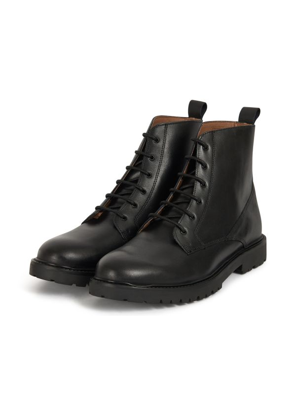 H by Hudson Mens Perry Leather Black Boot Three Quarter
