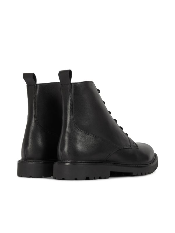 H by Hudson Mens Perry Leather Black Boot Detail
