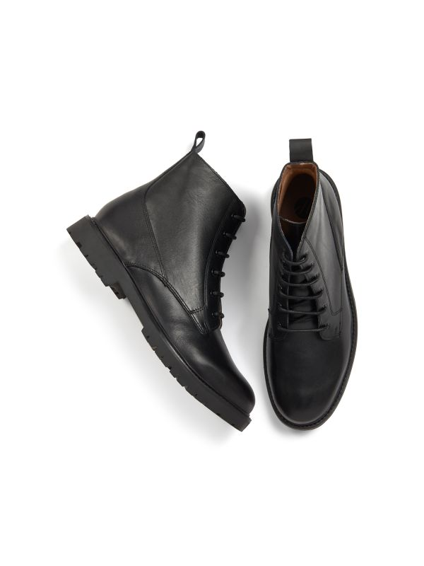 H by Hudson Mens Perry Leather Black Boot Top